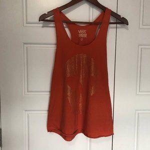 2/$30 Vans Orange and Gold Skull Tank Top Size S